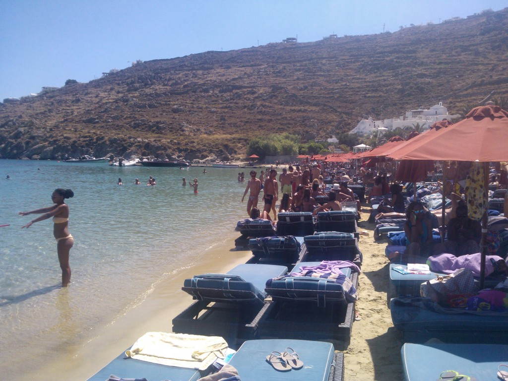 Best Things to do in Mykonos - Go to Nammos beach club (here you see the sunbeds)