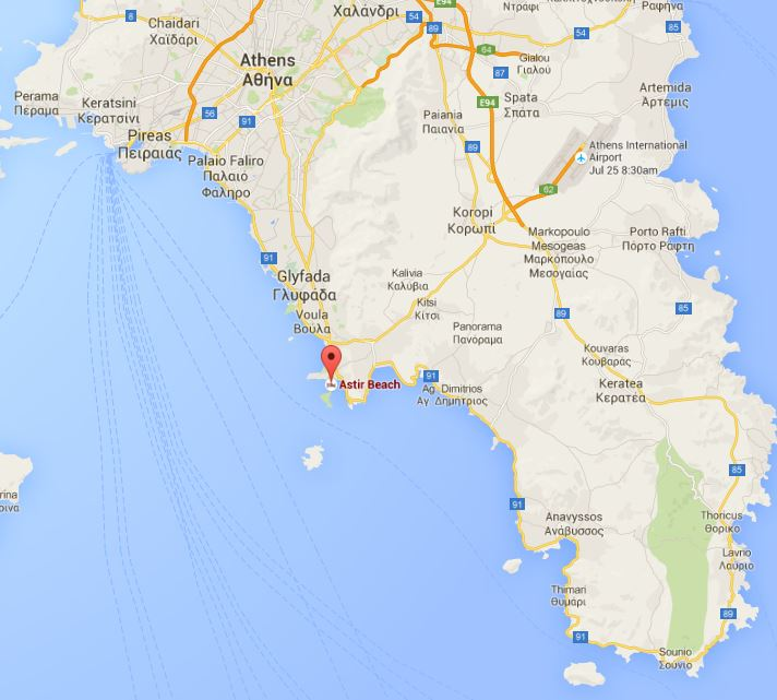 Astir Vouliagmeni Beach location on the map