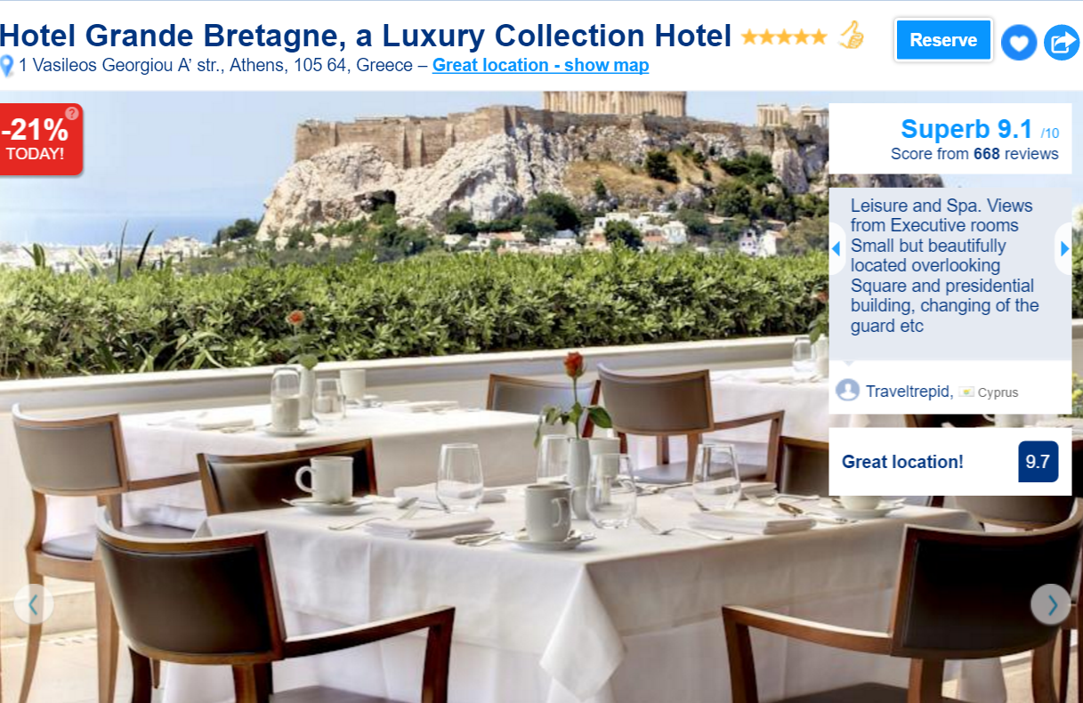 The Best Luxury Hotels in Athens: Hotel Grande Bretagne