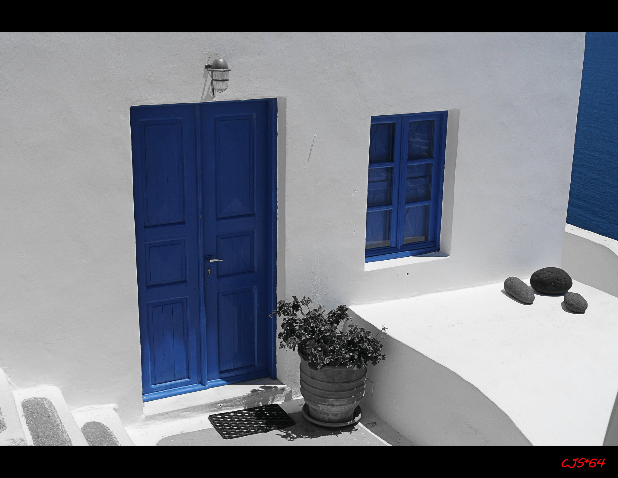 Blue Door and Window in Santorini