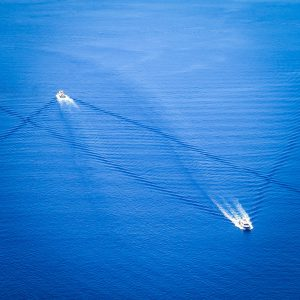Boats come and go to Santorini