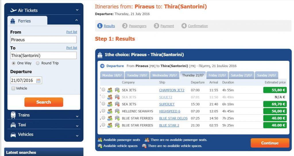 Piraeus to Santorini Ferries Itinerary.