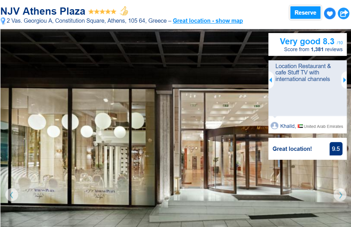 The best luxury hotels in Athens: NJV Athens Plaza