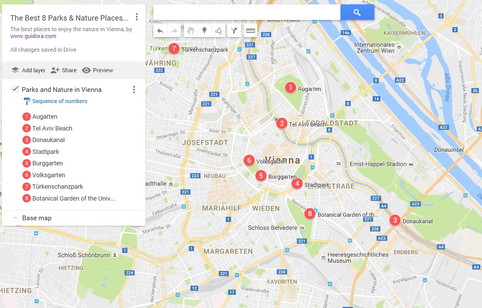 A Map with the Best Parks in Vienna