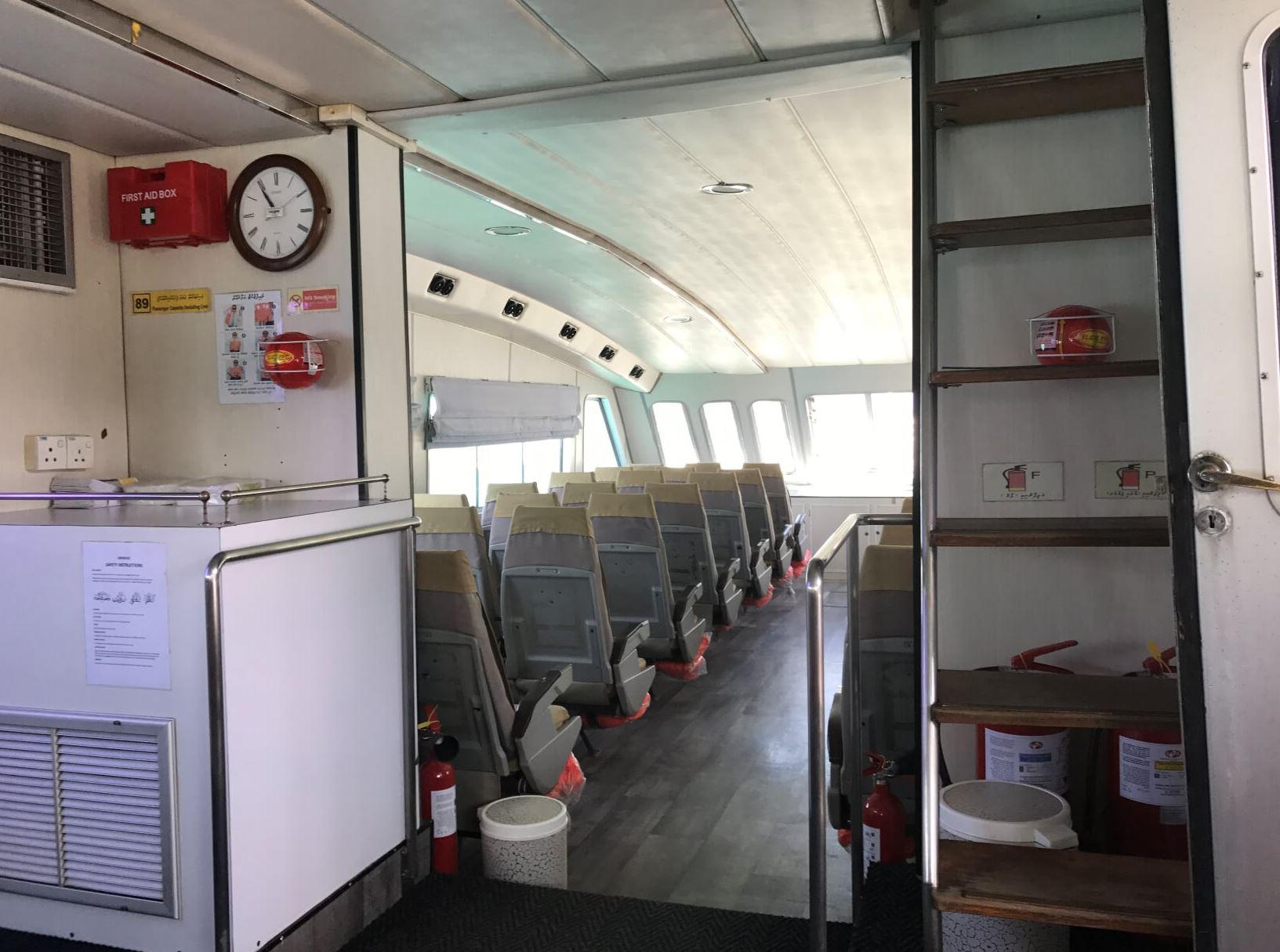 Inside the Speedboat from Male to Kuramathi Island