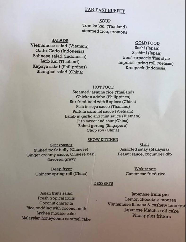 What is included in the Far East Buffet in Kuramathi