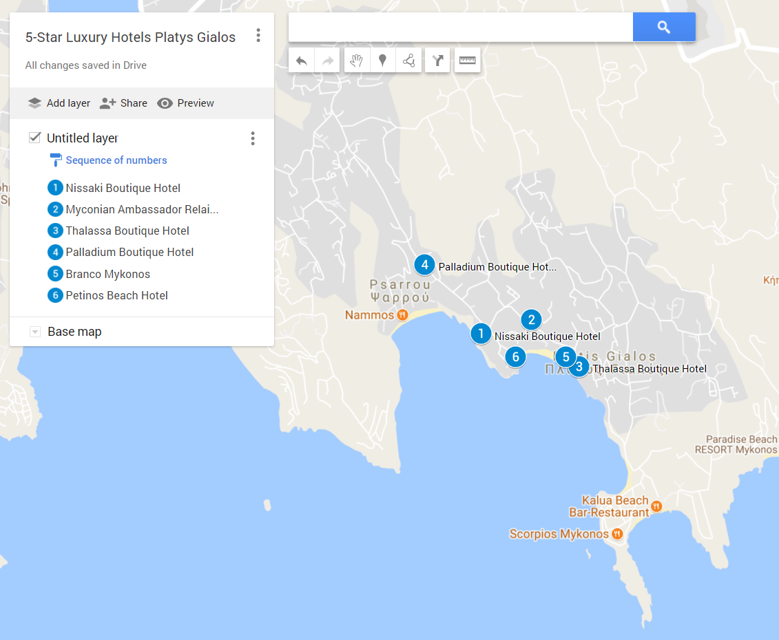 A google map with all the 5-star hotels in Platis Gialos, Mykonos