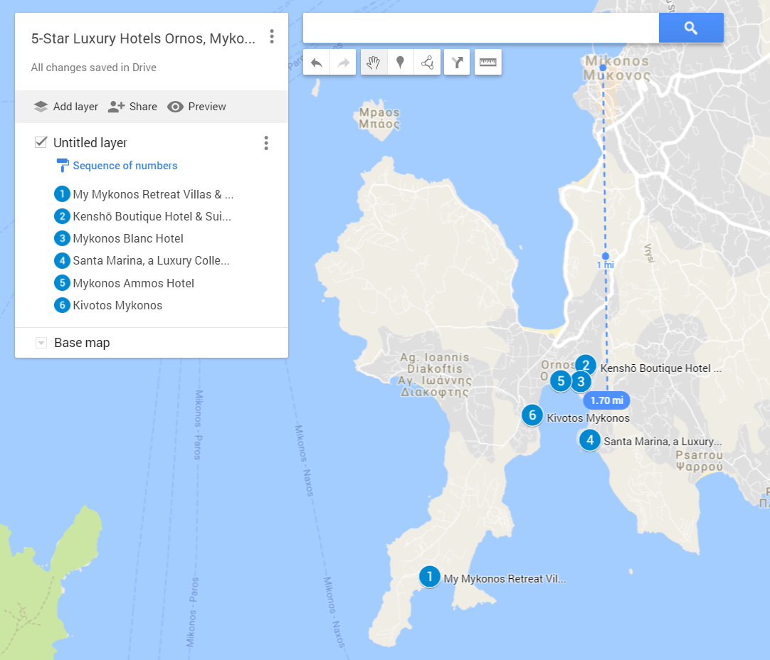 A google map with all the 5-star luxury hotels in Ornos