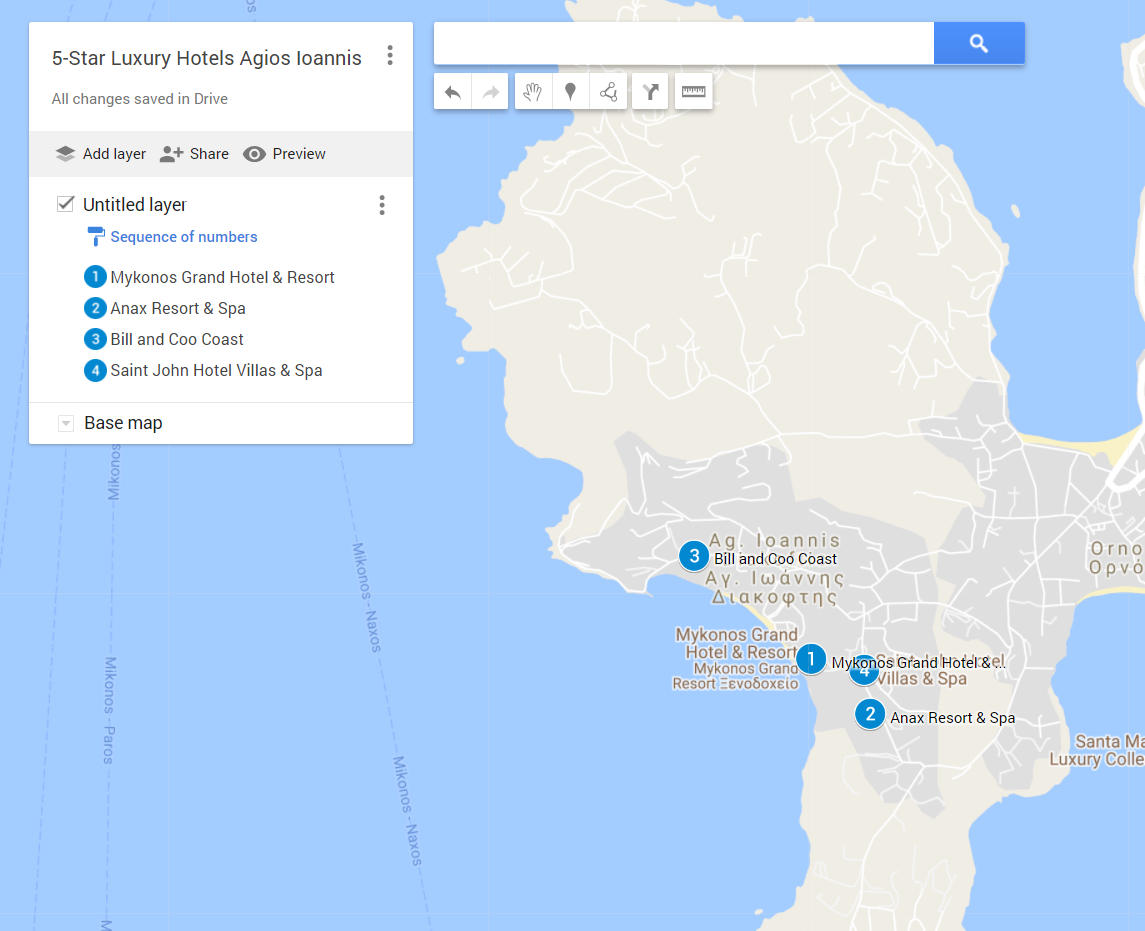 The locations of all the 5-star luxury hotels in Agios Ioannis, on google maps