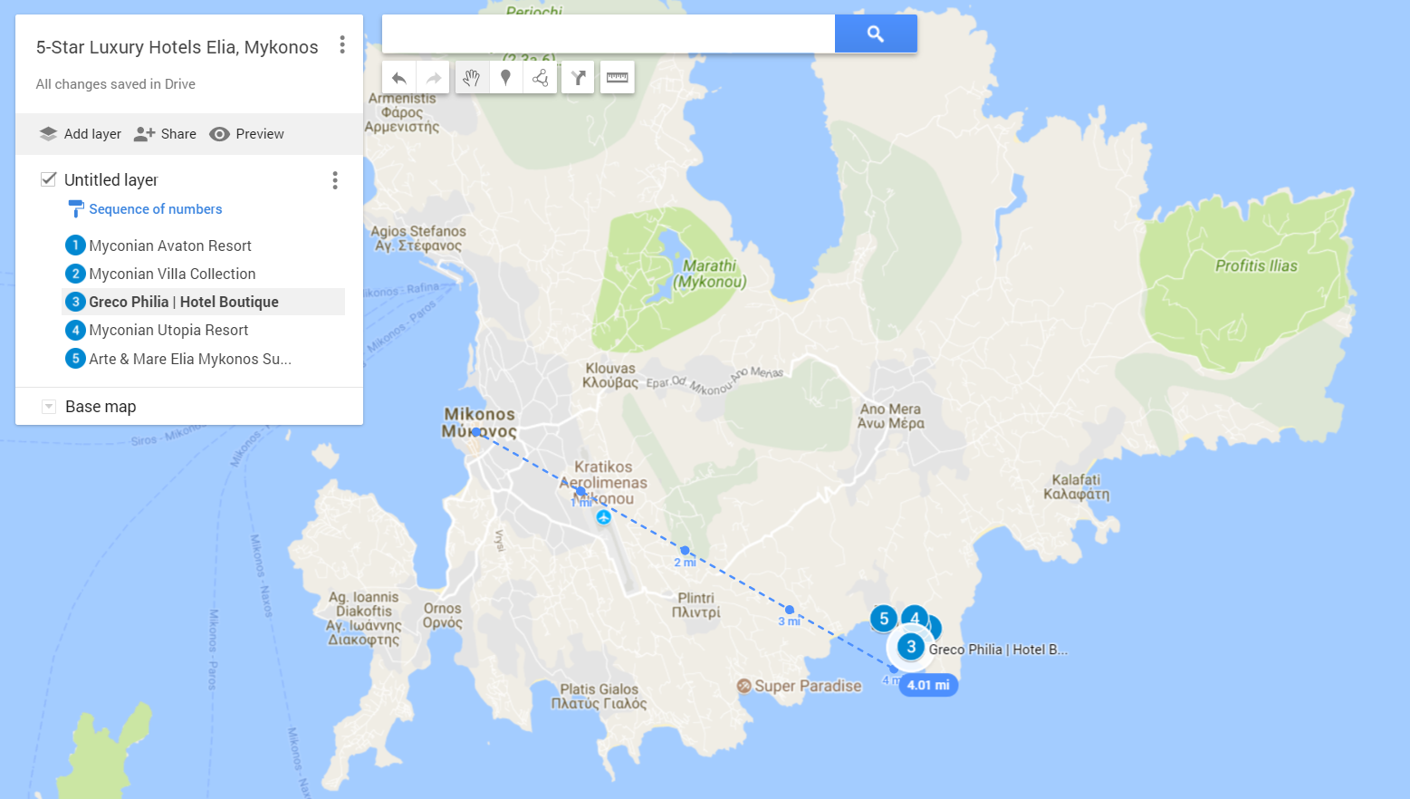 A google map with the locations of the best 5-star Luxury Hotels in Elia, Mykonos Island