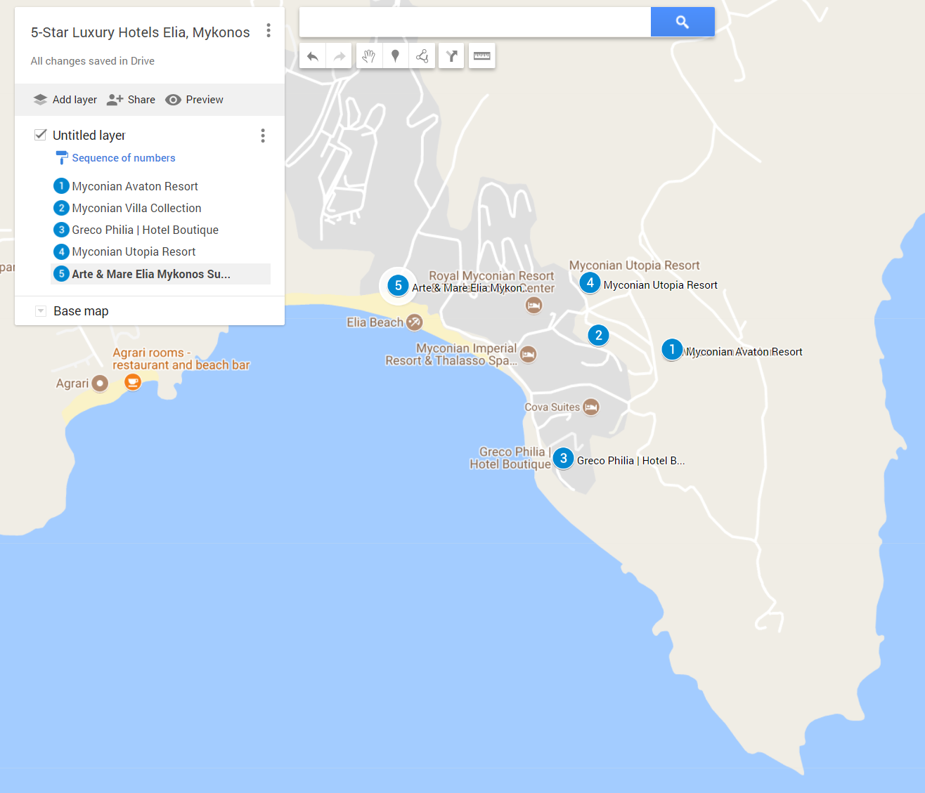 The locations of all the 5-star luxury hotels in Elia, Mykonos on google maps