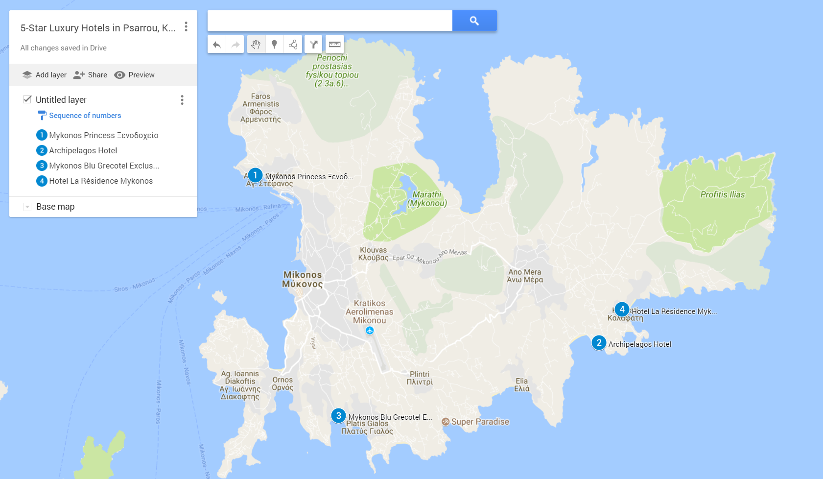 A google map with all the 5-star hotels in Agios Stefanos, Kalo Livadi, PSarou and Kalafati beach