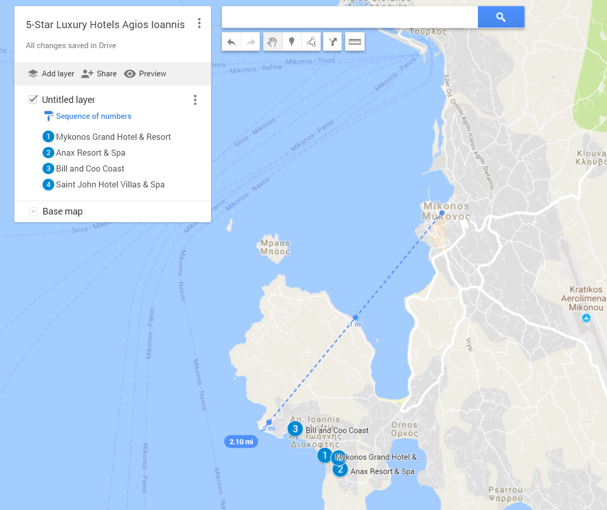 A google map with the best 5-star luxury hotels in Agios Ioannis