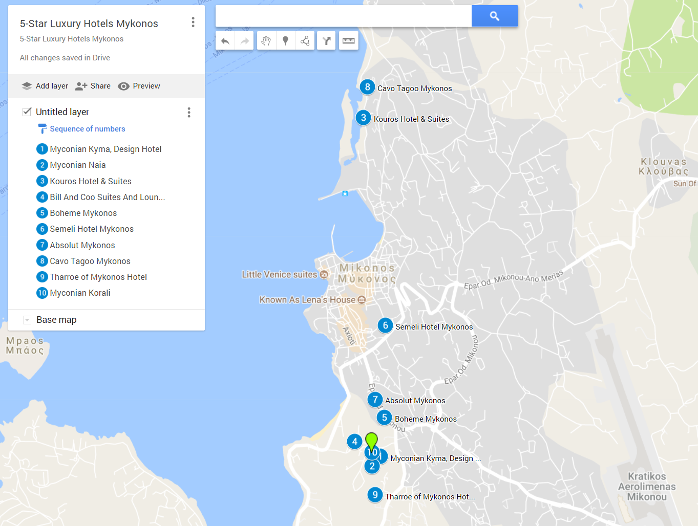 A google map with the best 5-star luxury hotels in Mykonos Town