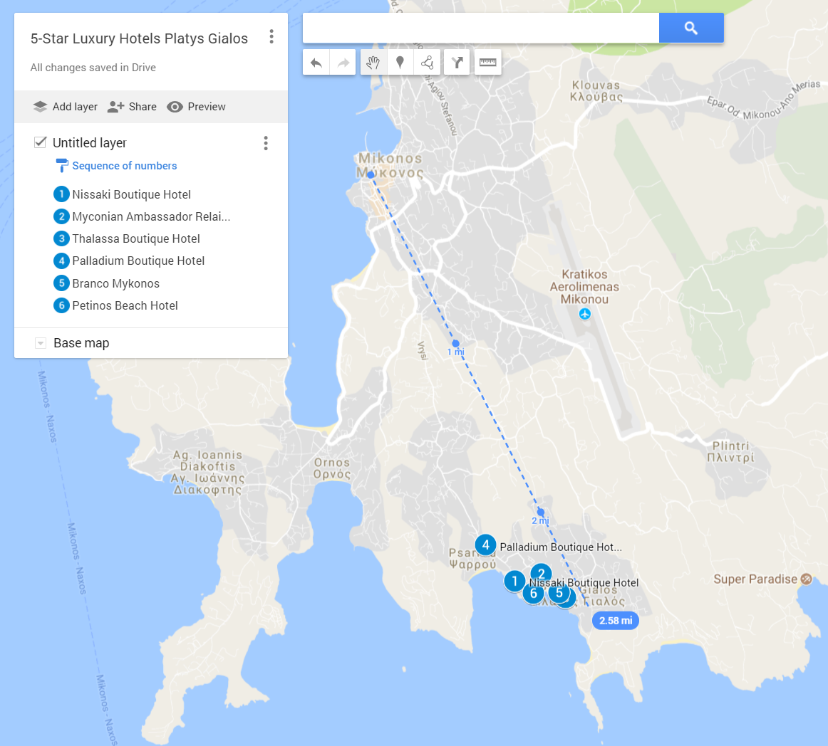 A google map with all the locations of the 5-star luxury hotels in Platis Gialos