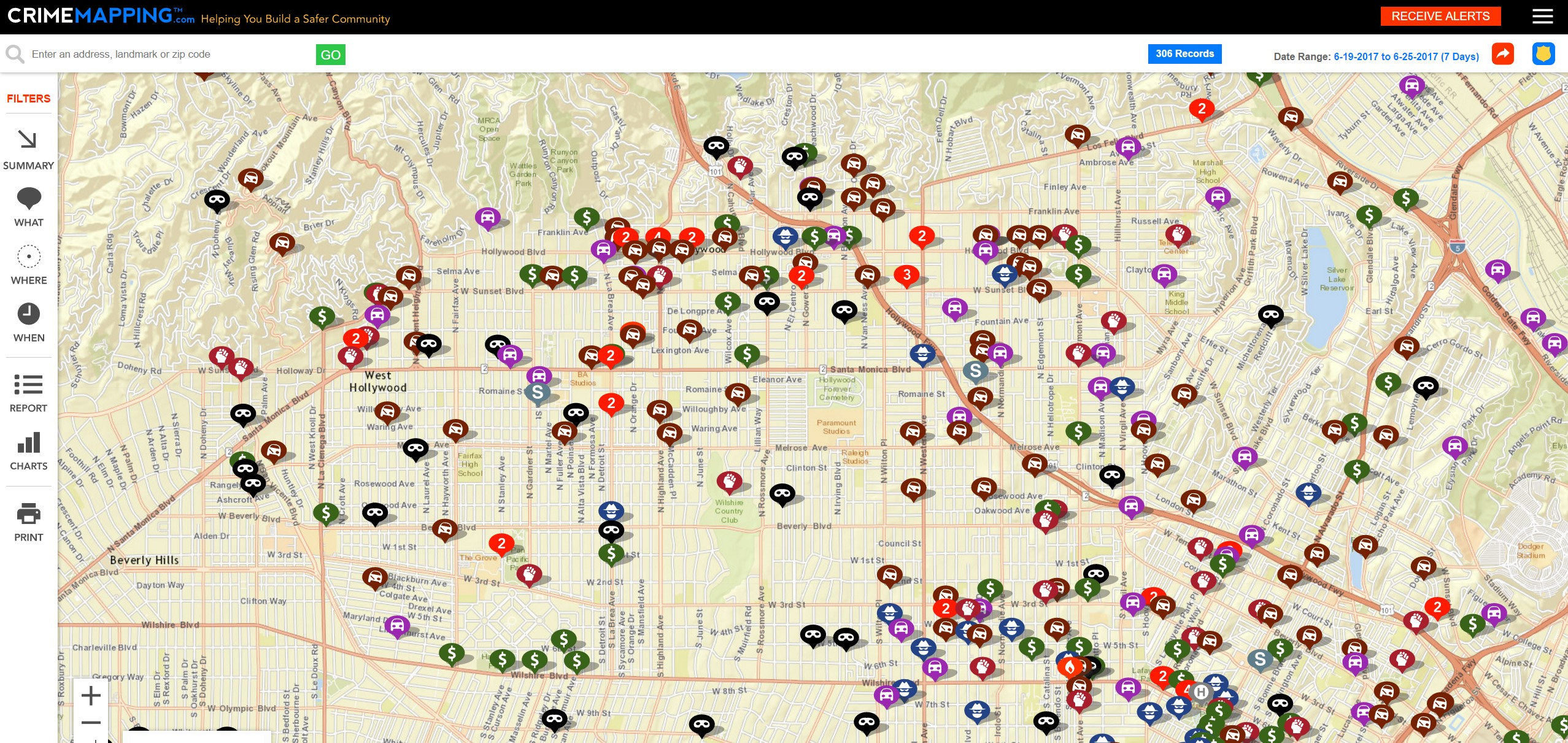 Crime Map in Los Angeles