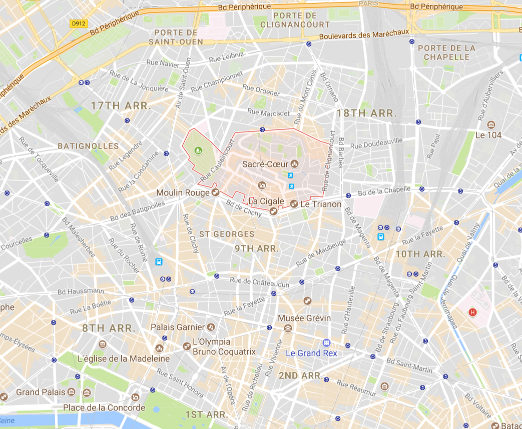 A map of the Montmartre Area
