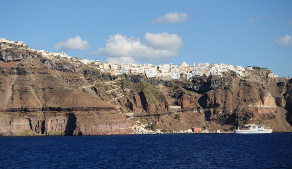 Where to STay in Santorini - Stay at Fira Village in Santorini - View from Below