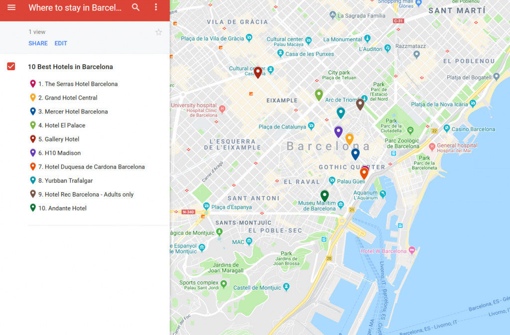 A map with the locations of the best hotels to stay in Barcelona