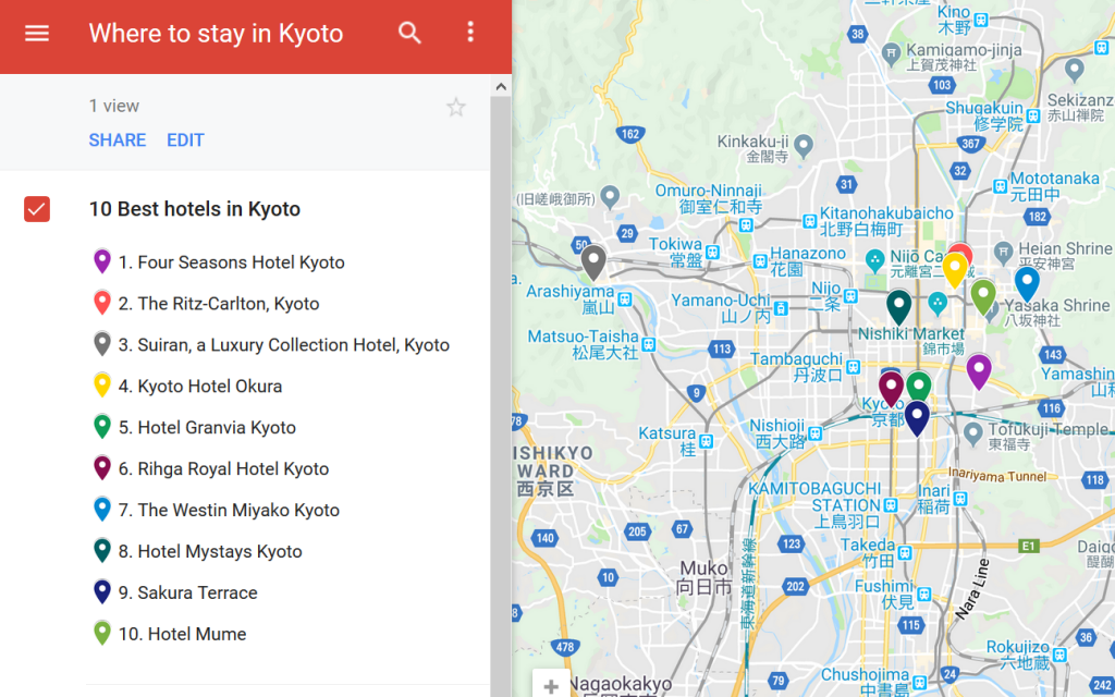 A map with the hotel locations in Kyoto