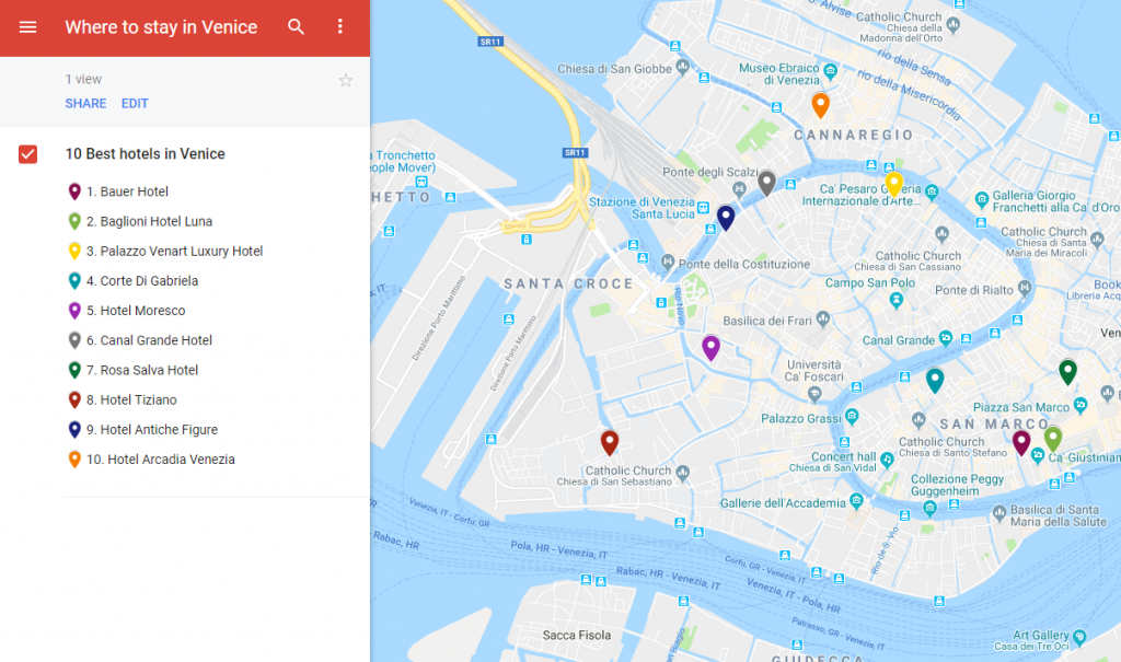 A map illustrating the locations of the best hotels to stay in Venice