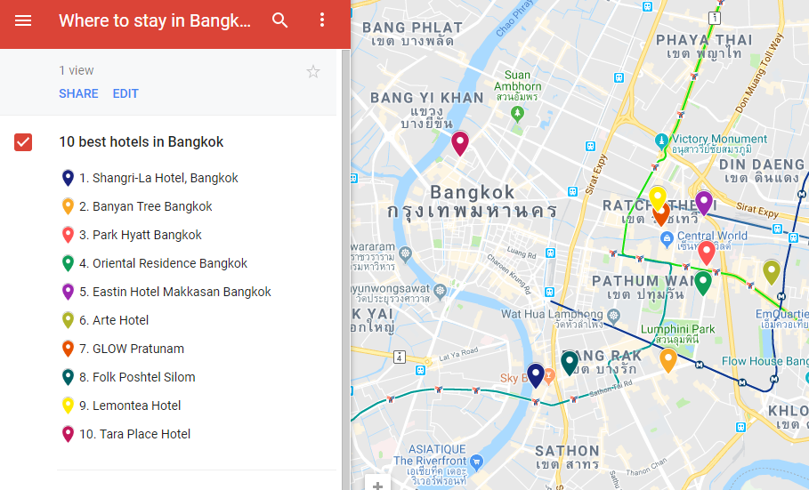 A map with the locations of 10 best hotels in Bangkok