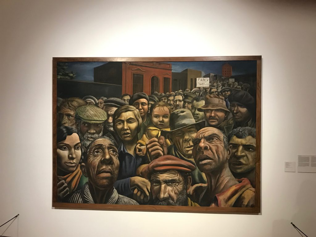 A MALBA museum exhibit of the last century depicting the working class in Argentina.This exhibit comes from Antonio Berni and it is about a manifestation from the working class of Argentina.