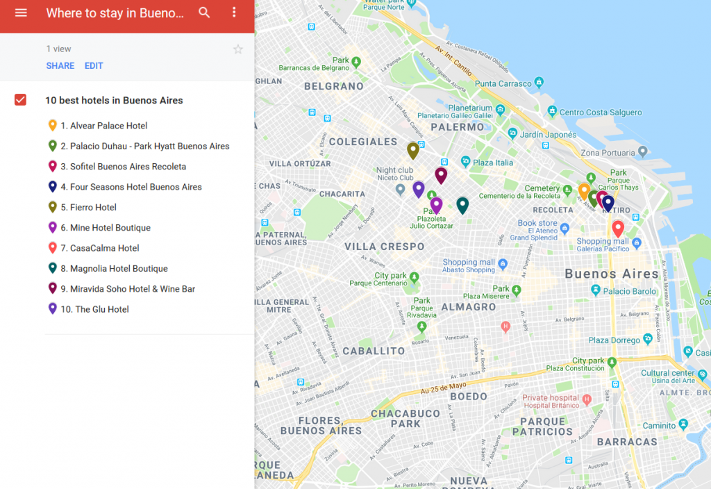 A map with the locations of 10 best hotels in Buenos Aires