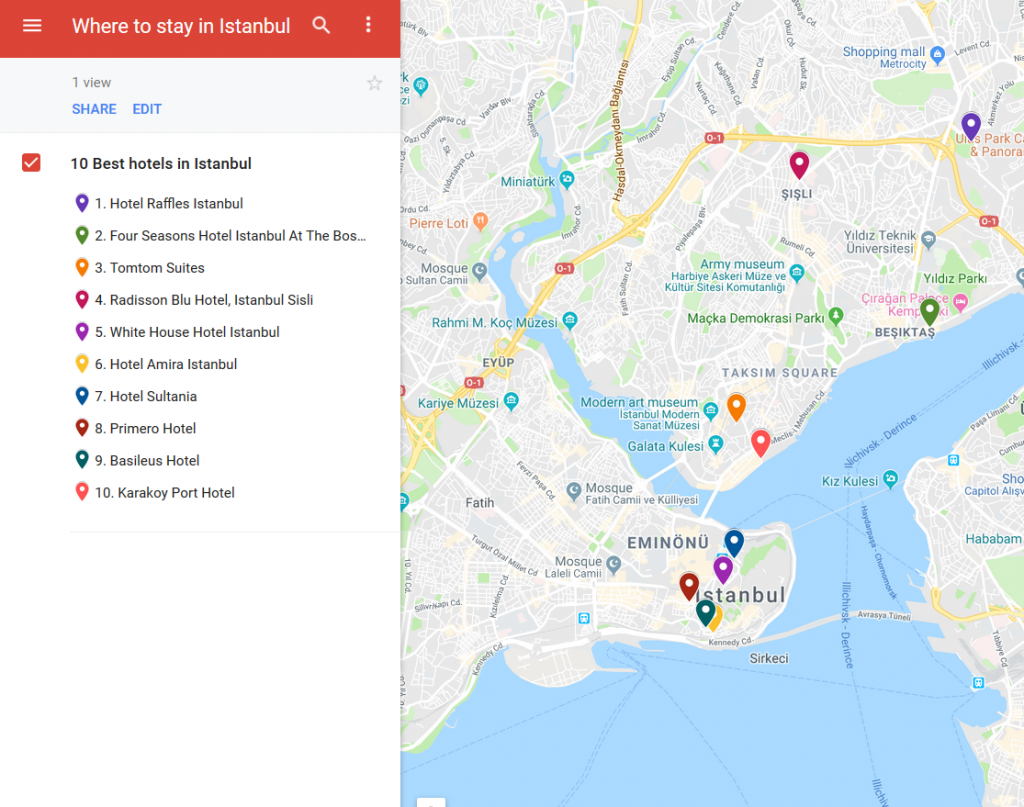 Map. 10 best hotels in Istanbul