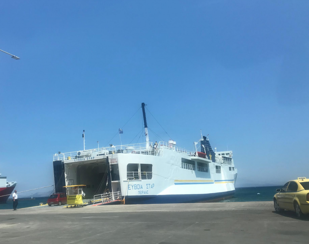 The Euboia Star ferry, at the port of Rafina, will get you to Marmari in one hour. It is much older than Panorama ferry. It accepts cars.