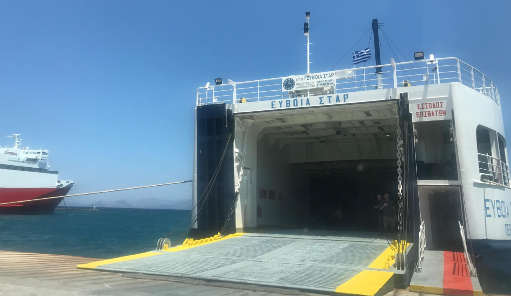 A view of the entry of the garage of Euboia Star Ferry. The entry for the passenger is on the right side of the ferry (red corridor). It also has an open deck on the top, if you want to sit outside and enjoy the sea and the sun.