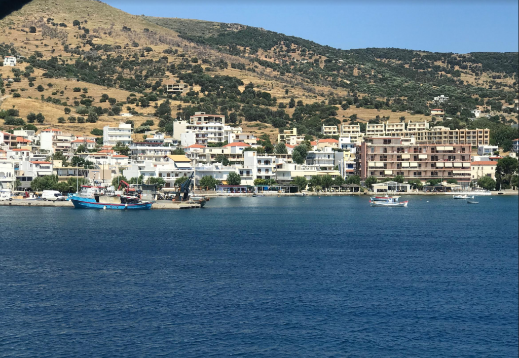 The village of Marmari, as you can see it from the ferry.