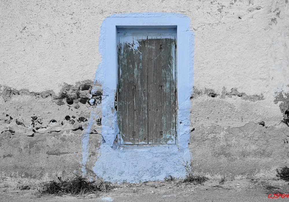 Blue on the wall of a Santorini's house