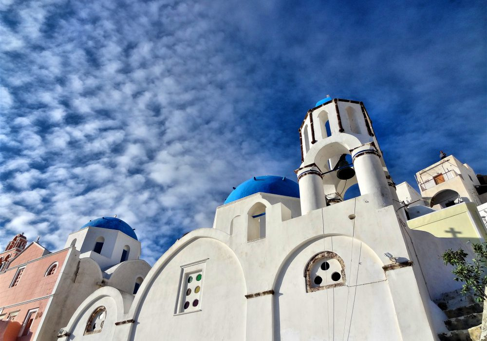 A blue church in Oia