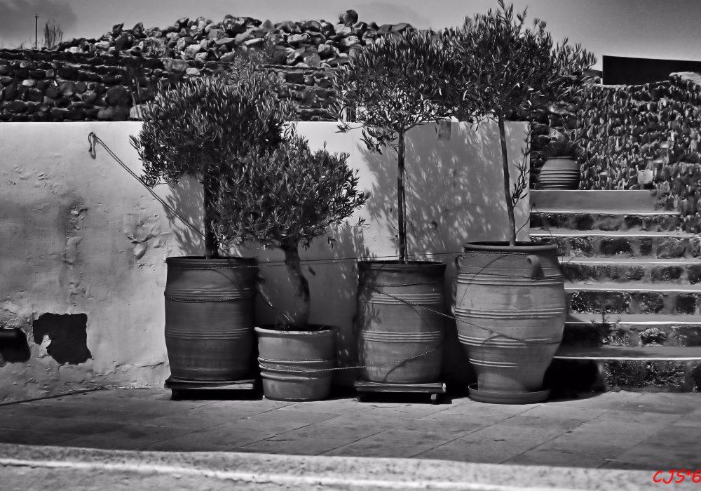 4 pots in Santorini