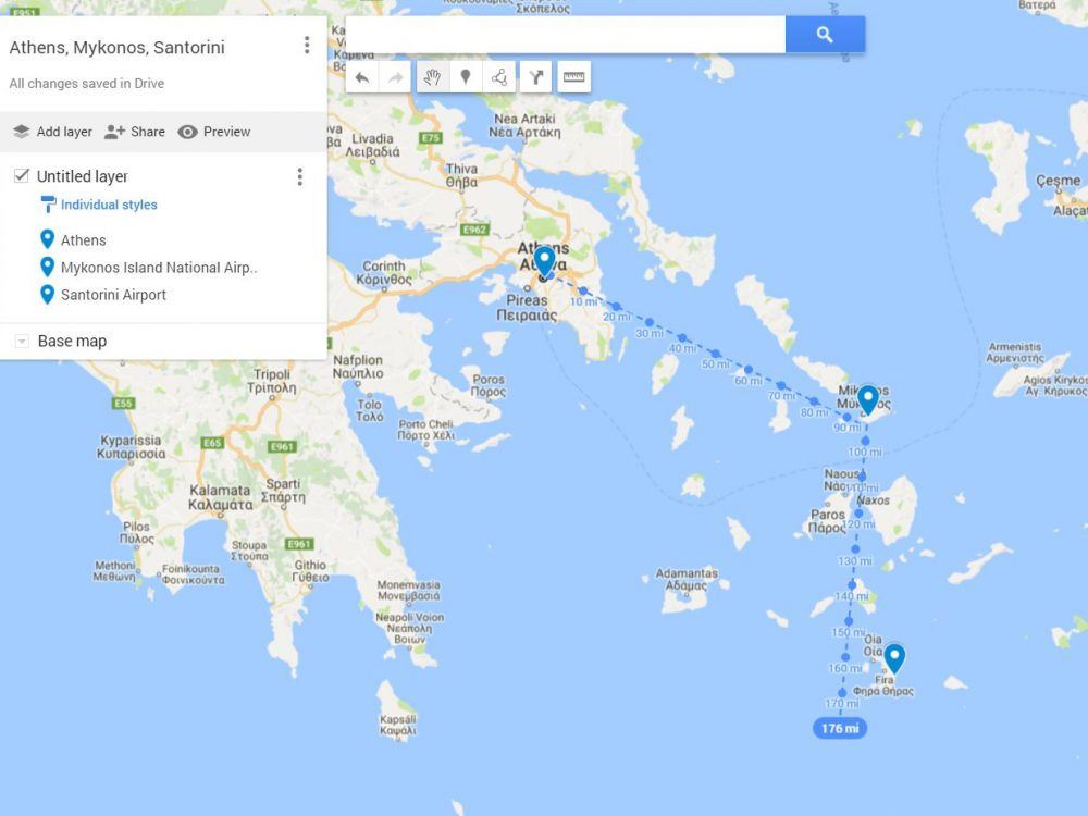 Distance of Athens to Mykonos and Santorini
